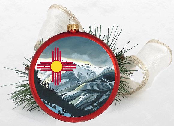 Snowy Zia Disc Ornament WS