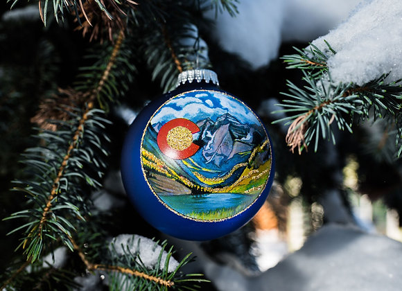 Alpine Lake Ornament WS Blue