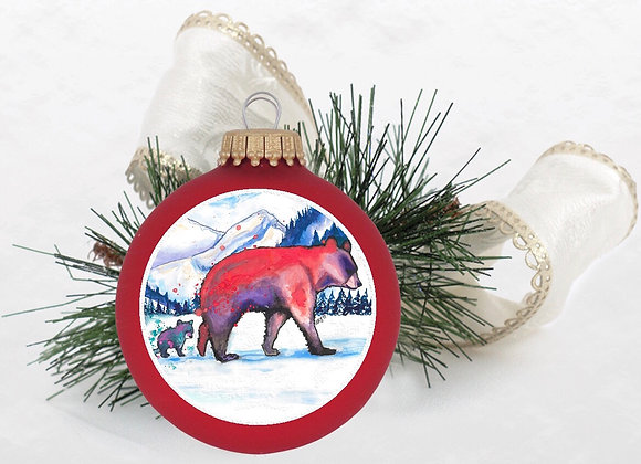 Mama and Baby Bear Ornament Red