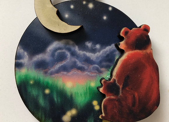 Moon and Back 3D wood ornament or magnet WS