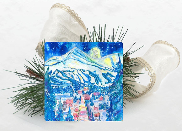 Goodnight Mountains Travertine Coaster