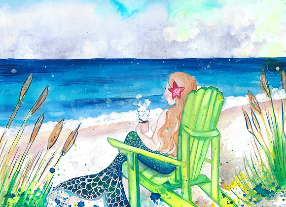 Mermaid Drinking Coffee