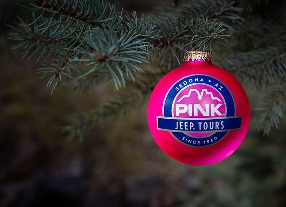 Custom Round Glass Ornament Pink