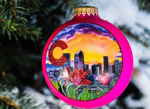 Denver Skyline Ornament WS Pink