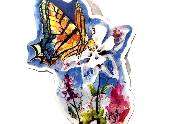 Butterfly on a Columbine Sticker
