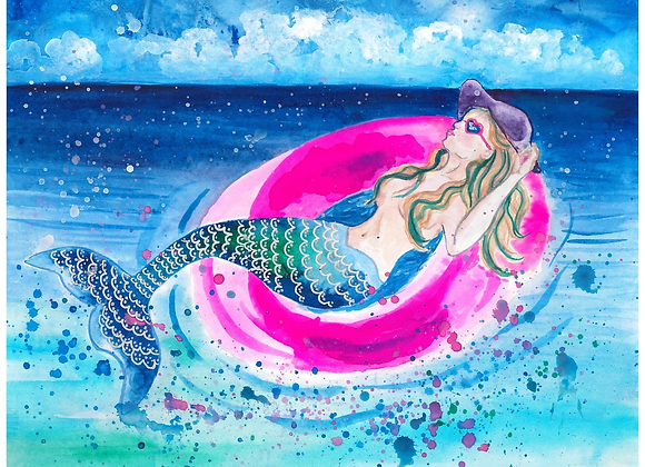 Mermaid on a Pink Floaty