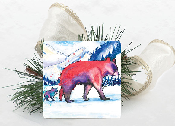 Mother Bear & Cub Travertine Coaster