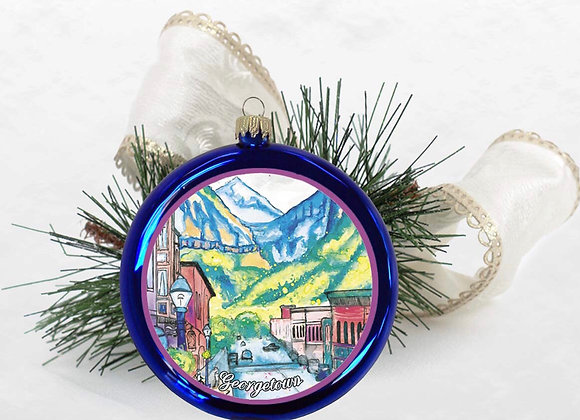 Mountain Town Disc Ornament WS