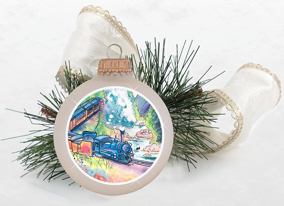 Mountain Train Ornament WS White