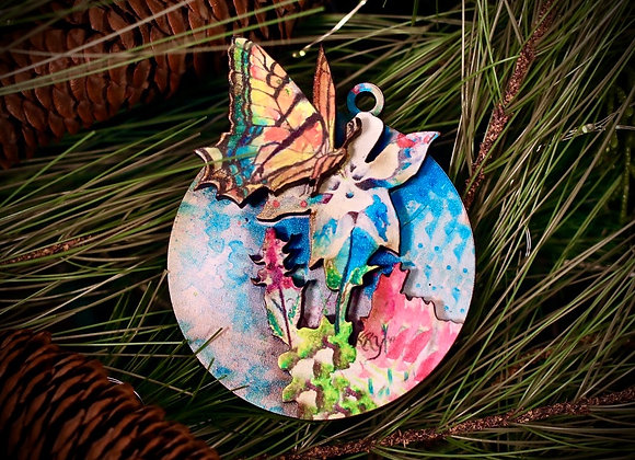 3D Butterfly on Columbine Ornament WS