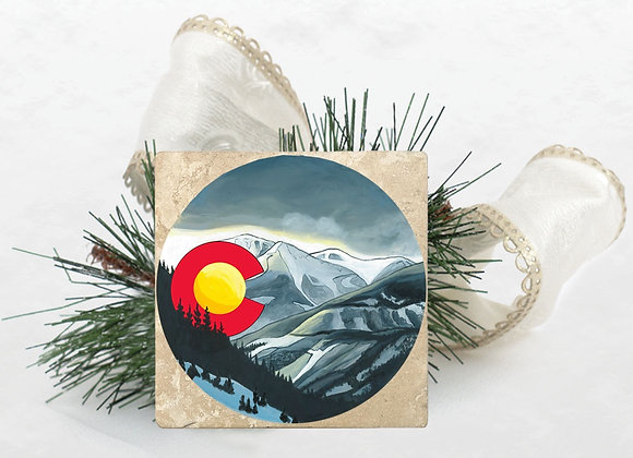 Snowy Colorado Travertine Coaster