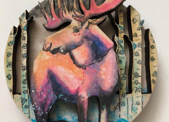 Moose 3D wood ornament or magnet