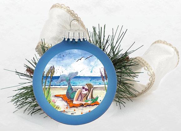 Mermaid a Beach Towel Ornament Light Blue