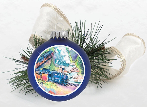 Mountain Train Ornament Blue