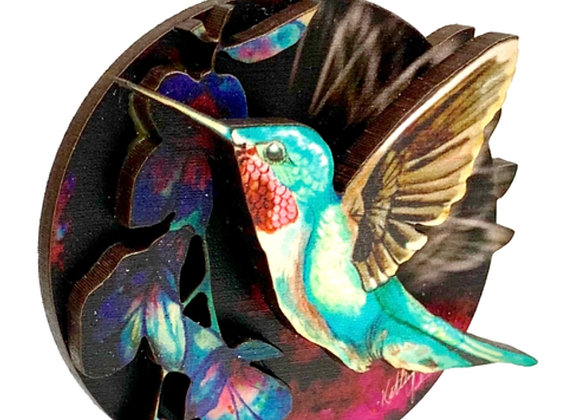Hummingbird Woodcut Ornament