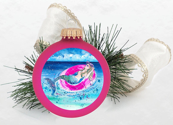 Mermaid in a Pink Floaty Ornament Hot Pink