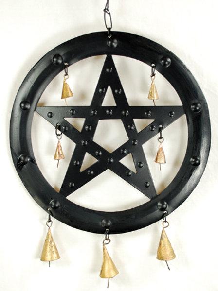 """9 1/2""""Black Pentagram wind chime"""
