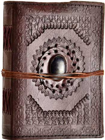 "5"" x 7"" God's Eye leather blank book w/ cord"
