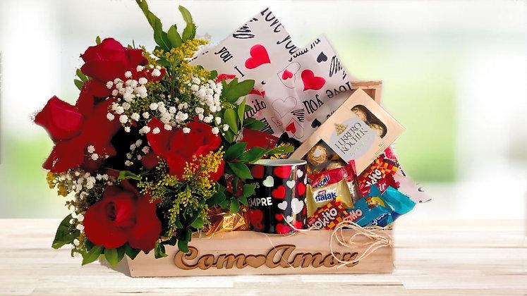 Cesta de rosas e chocolate