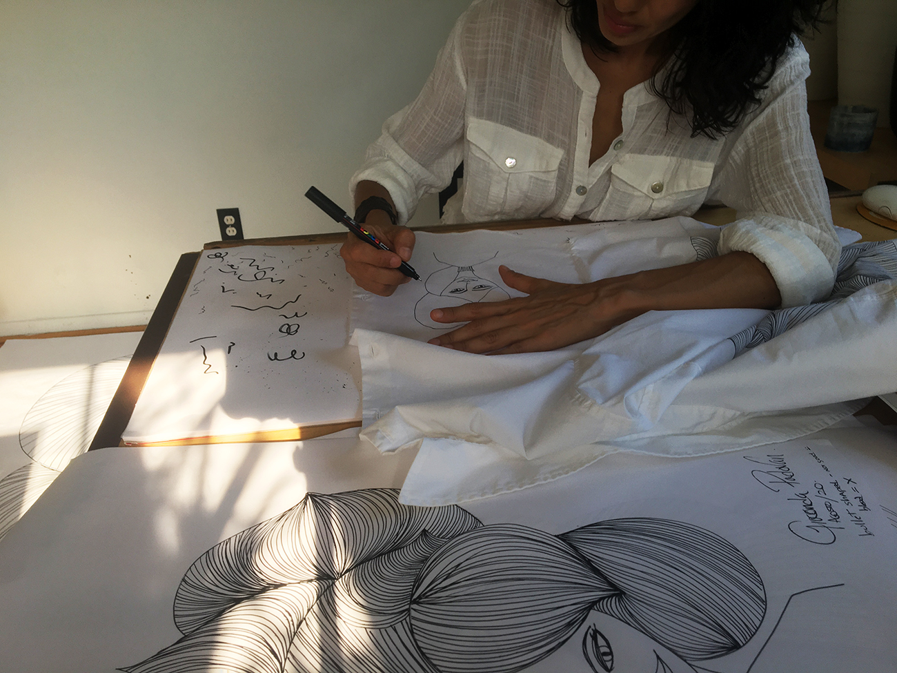 Drawing on fabric
