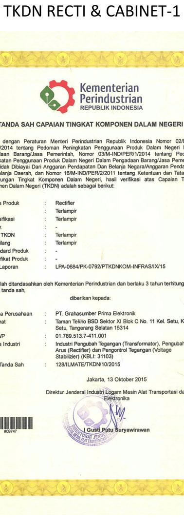TKDN Rectifier & Cabinet -1
