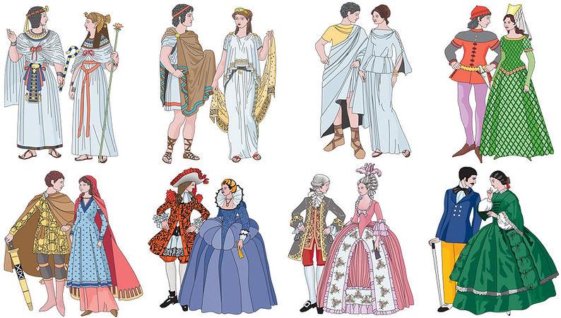Histoy of fashion, costumes, gothic fashin, baroque fashion, greek fashion,roman fashion, egyptian fashion