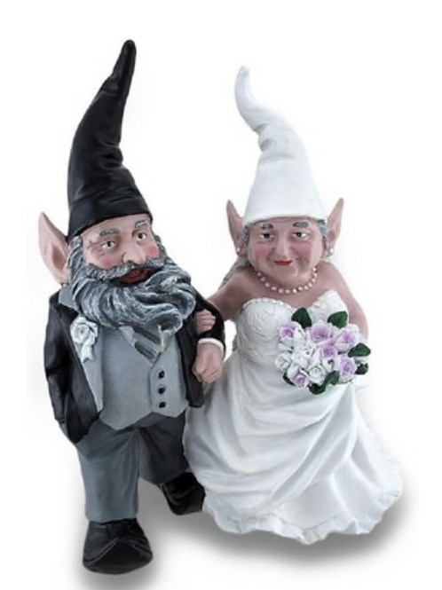 Bride and Groom Gnomes or Elves Wedding Cake Topper