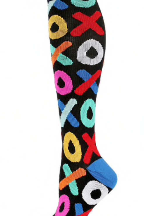 Long Colorful Compression Socks XOXO Pattern
