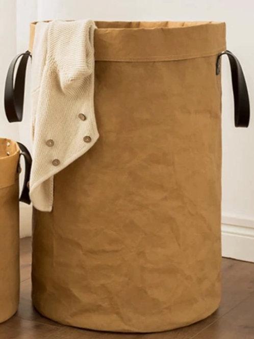 Washable Kraft Paper Bag With Vegan Leather Handles