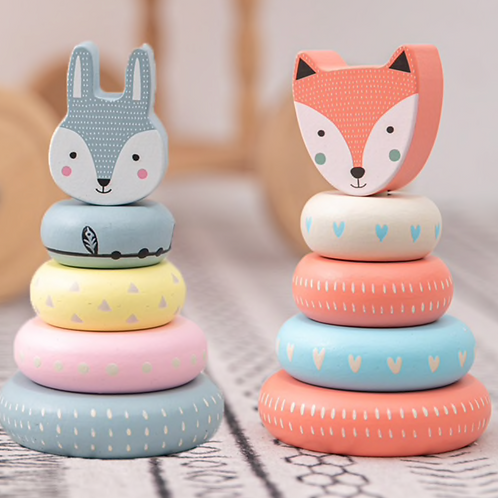 Nordic Fox or Britta Bunny Wooden Stacking Toy