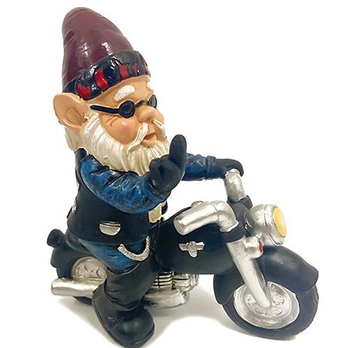 Biker Bruno Gnome Flipping the Bird