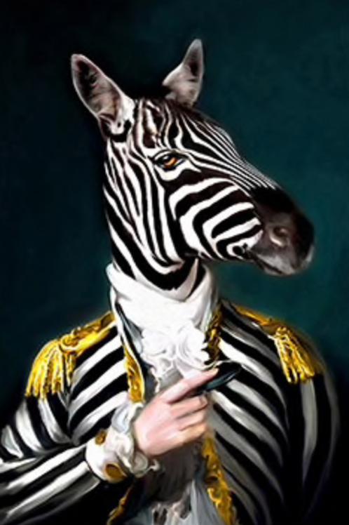 Victor Zebra Poster on Canvas