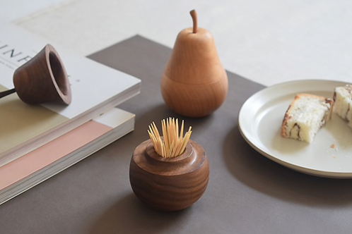 Nordic Wooden Pear Toothpick Holder