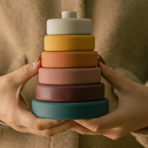 Earth Tones Silicone Stacking Tower - 6 Pieces