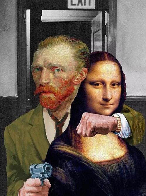 Van Gogh Takes Mona Poster on Canvas