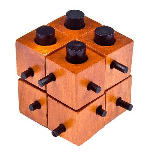 Nordic Wooden Cube Puzzle - IQ Brain Teaser