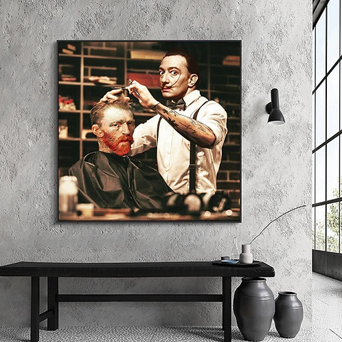 Dali Cutting Van Gogh's Hair Poster on Canvas