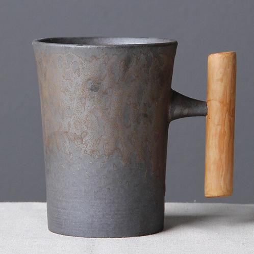 North Sea Ceramic Mug With Wooden Handle