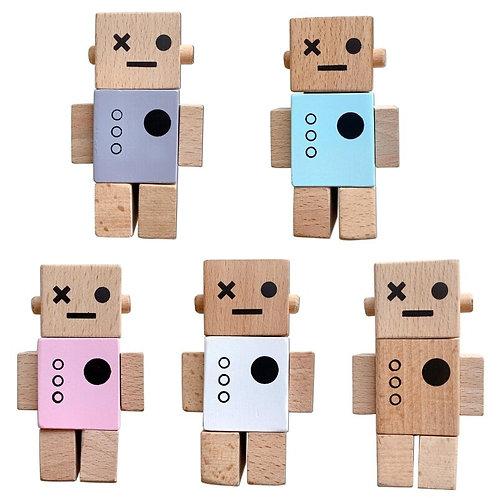 Mini Block Head Wooden Robot
