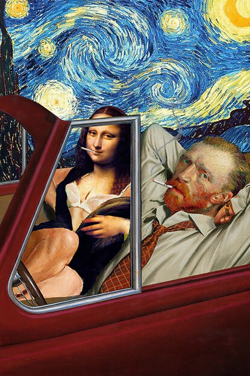 Mona and Van Gogh Poster on Canvas