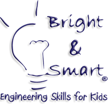 Our Logo - Lightbulb with company name and slogan - engineering skills for kids