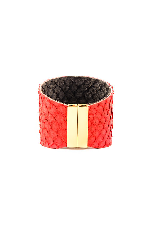 Fish Leather Cuff Cherry