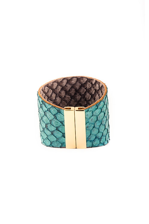 Fish Leather Cuff Turquoise
