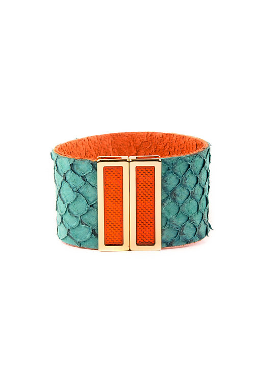 Skinny Fish Leather Cuff Turquoise