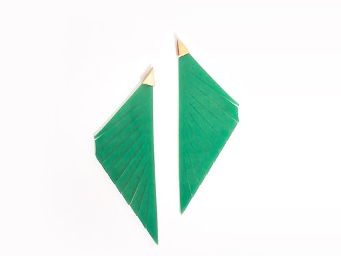 Organic 'Feather' Earring Green
