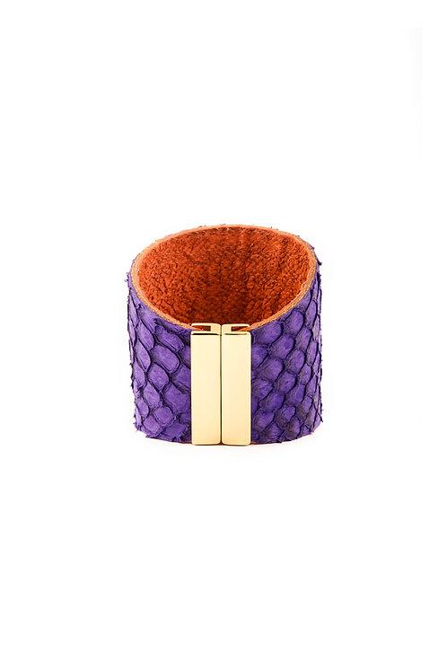 Fish Leather Cuff Purple