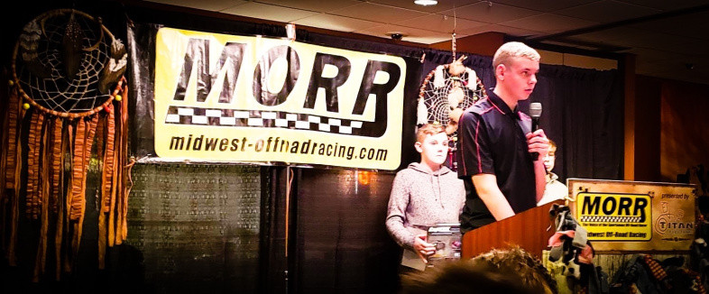 John Holtger Accepting The 2018 Mid-West Mod Kart Championship