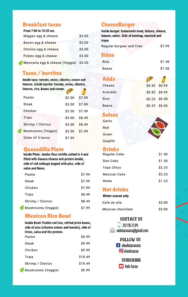 el xolo food truck menu