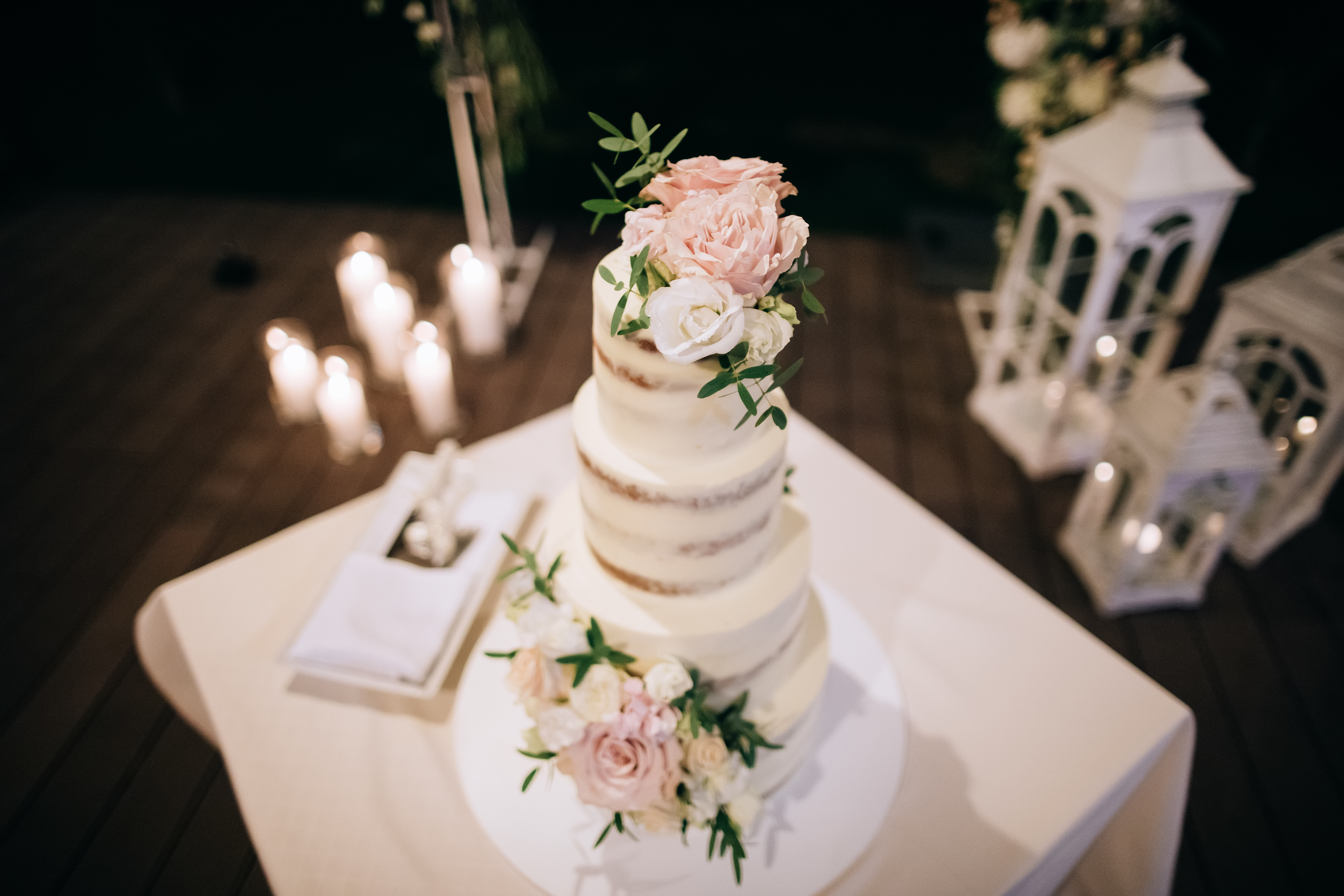 elegant semi naked wedding cake