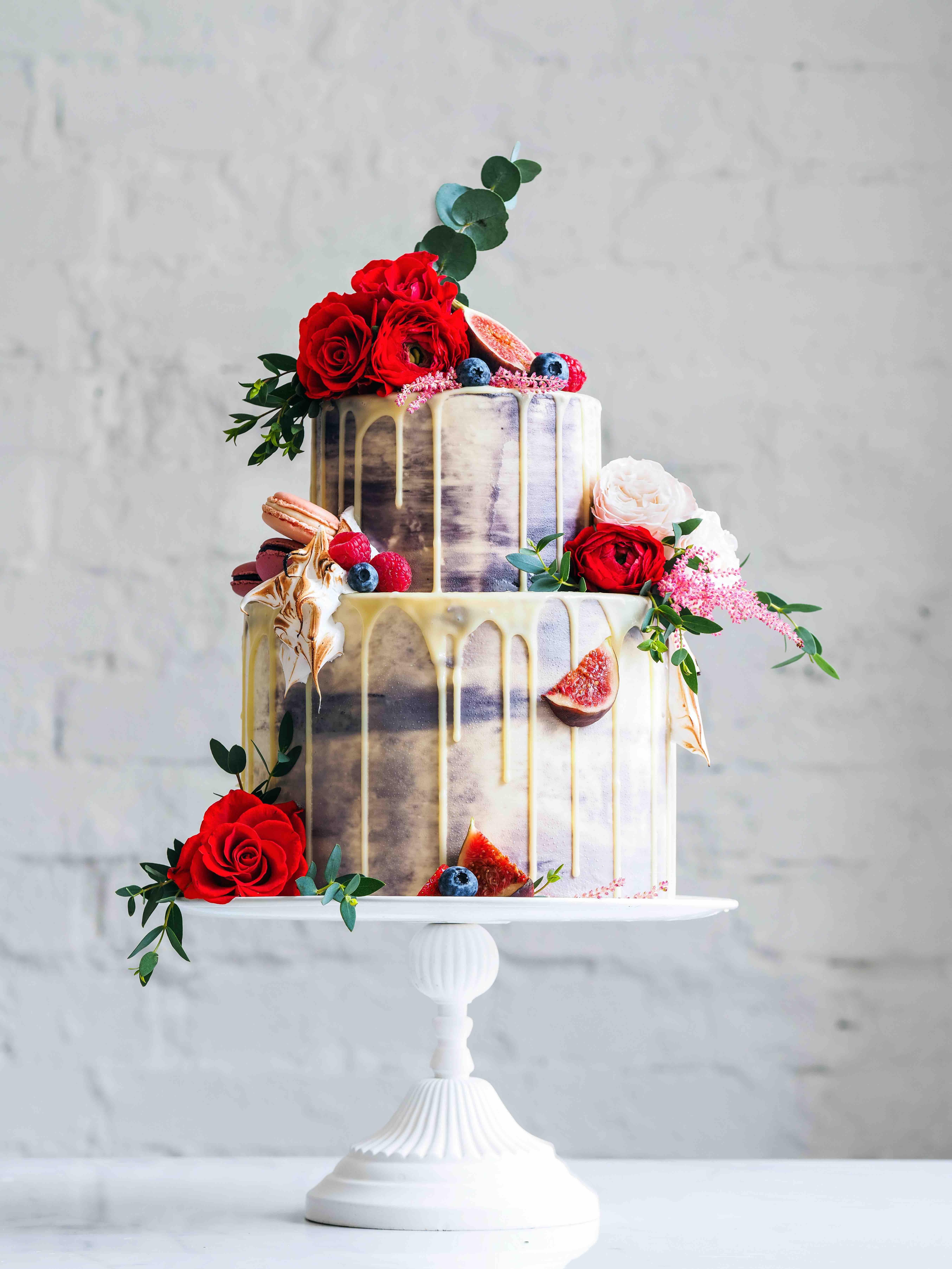 White Chocolate Drip Wedding Cake less
